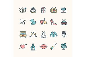 Wedding Icon Set. Vector