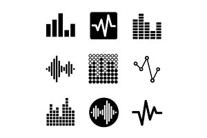 Music soundwave icons set