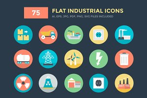 75 Flat Industrial Vector Icons
