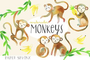 Watercolor Monkeys Clipart Pack