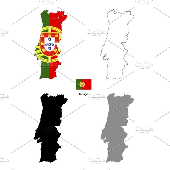 Portugal Country Silhouettes Objects Creative Market - Portugal map flag