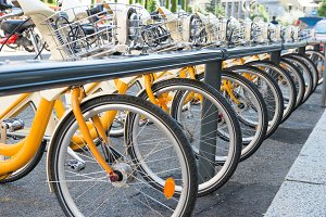 Yellow bikes parking