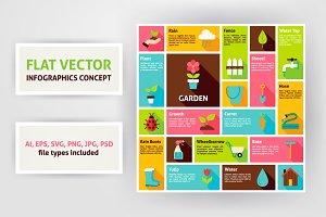 Spring Garden Flat Infographics