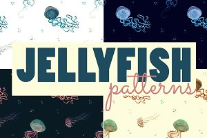 Watercolor jellyfish patterns
