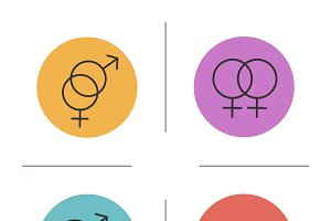 Gender symbols icons. Vector