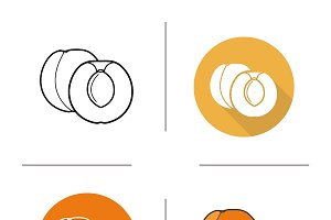 Apricot icons. Vector
