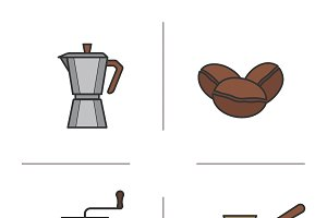 Coffee icons. Vector