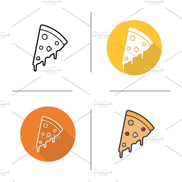 Pizza piece icons. Vector - Icons