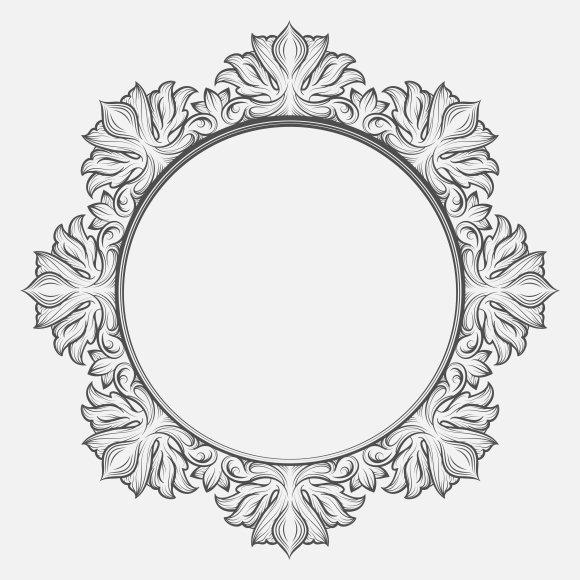 Vintage round baroque frame ~ Graphics ~ Creative Market