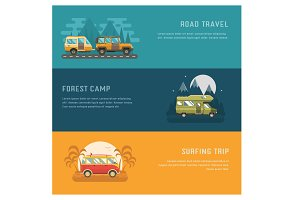 Outdoor Car Travel Banners Set