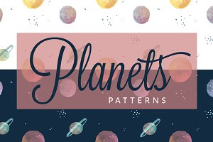 Watercolor Planets Pattern