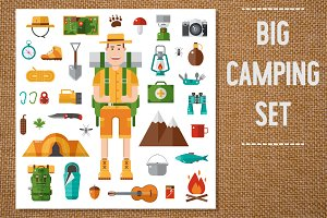 Hiking and Camping Elements Set