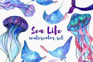 Sea Life. Watercolor set