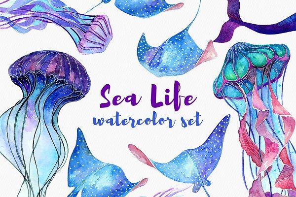 Sea Life. Watercolor set