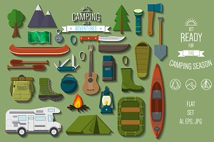 Camping and hiking items flat set