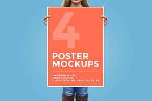 4 Poster Mockup Bundle