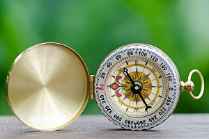 Compass with green natural