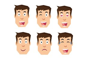 Icons of human emotions flat design