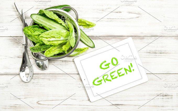 Green salad. Food background - Photos