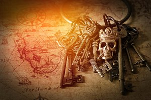 vintage treasure key on old map