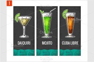 Alcohol cocktail set for menu