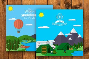 Mountains flat illustrations set