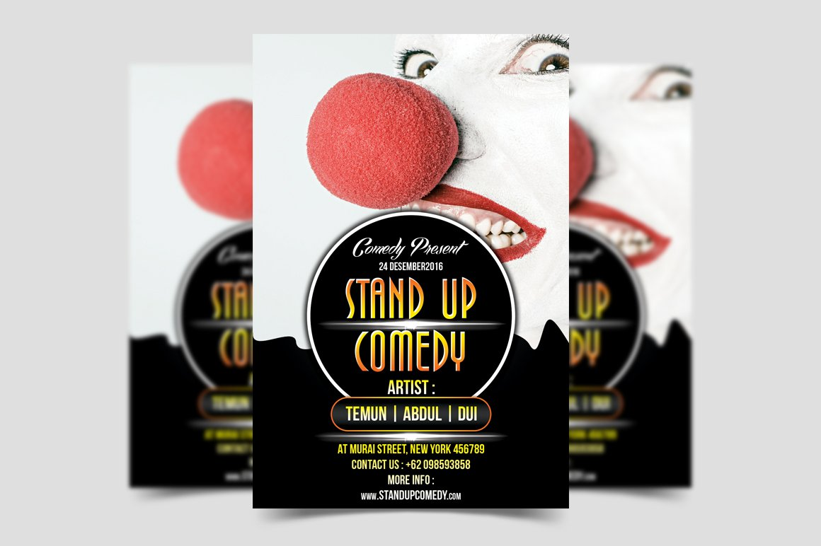 Stand Up Comedy Flyer Template Flyer Templates Creative Market