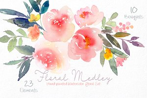 Floral Medley - Watercolor Floral Se
