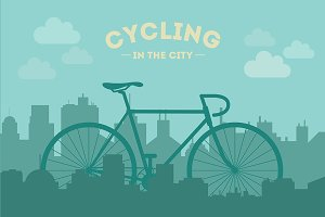 Cycling in the City. Vector.