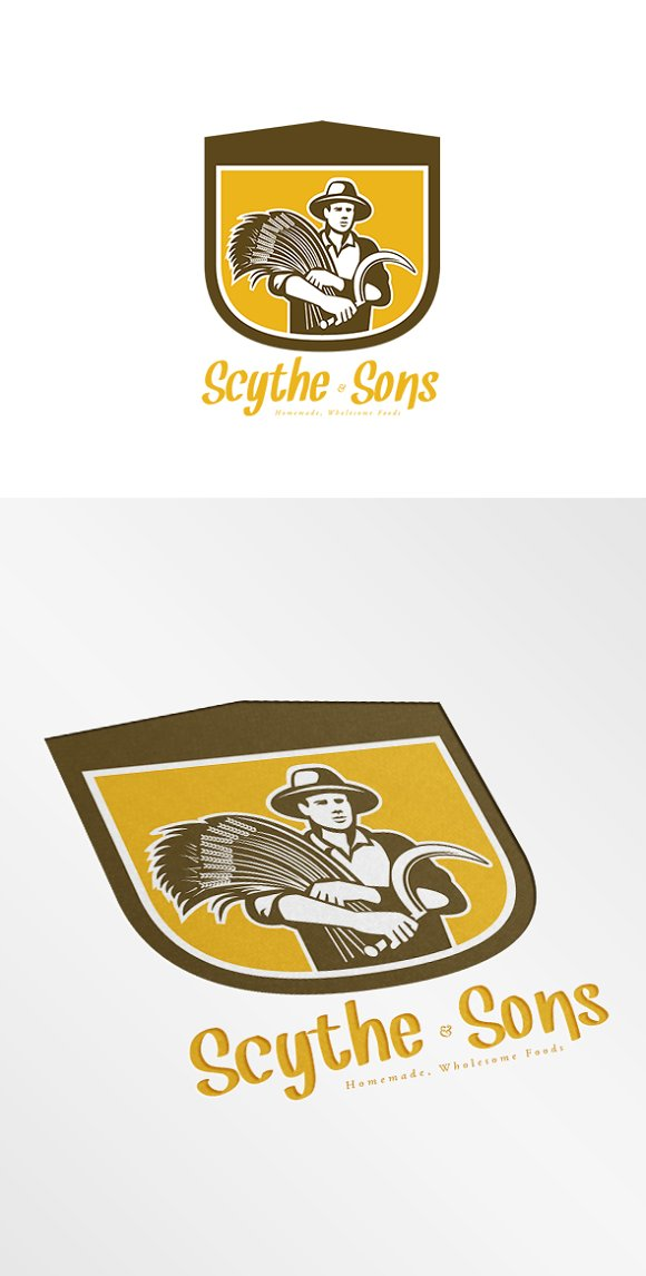 Scythe and Sons Homemade Wholesome F in Logo Templates
