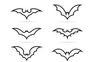 Set of vector bat icons