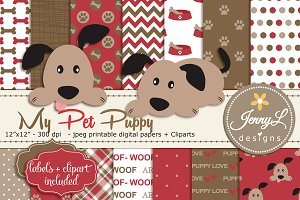 Puppy Dog Digital Papers