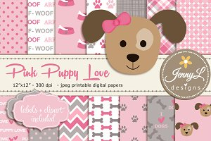 Girl Puppy Dog Digital Paper