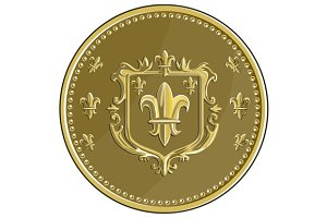 Fleur de lis Coat of Arms Gold Coin
