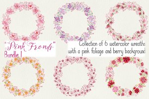 Watercolor wreaths: 6 in pink shades