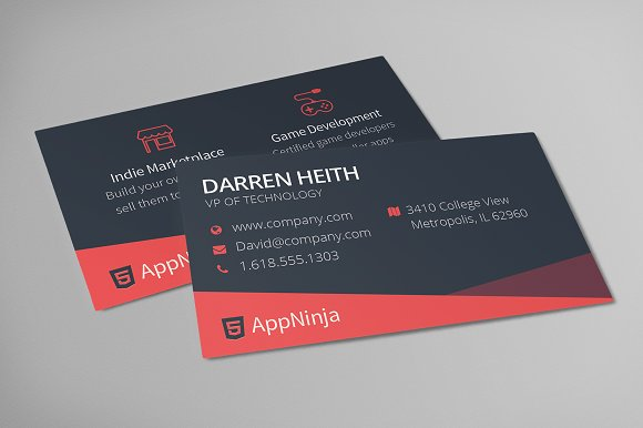 Sleek business card template business card templates creative market reheart Image collections