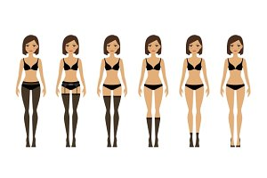 Women in different types of lingerie