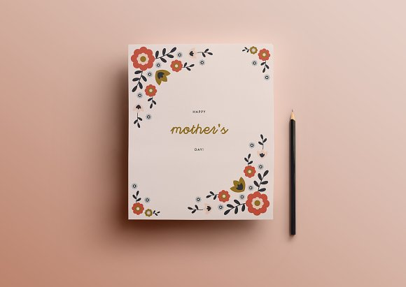 Mothers day card template card templates creative market mothers day card template cards maxwellsz