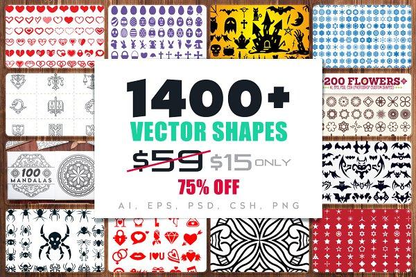 1400+ Vector Shapes Bundle [75%OFF]