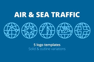 5 Logo Templates. Air & Sea Traffic