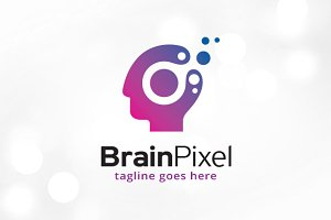 Brain Pixel Logo Template