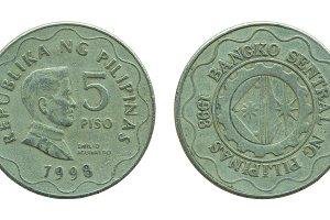 Philippine five peso coins