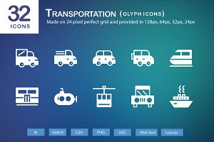 32 Transportation Glyph Icons