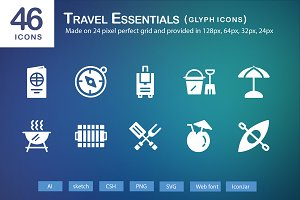 46 Travel Essentials Glyph Icons