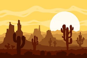Sunset in stone desert. Vector set.