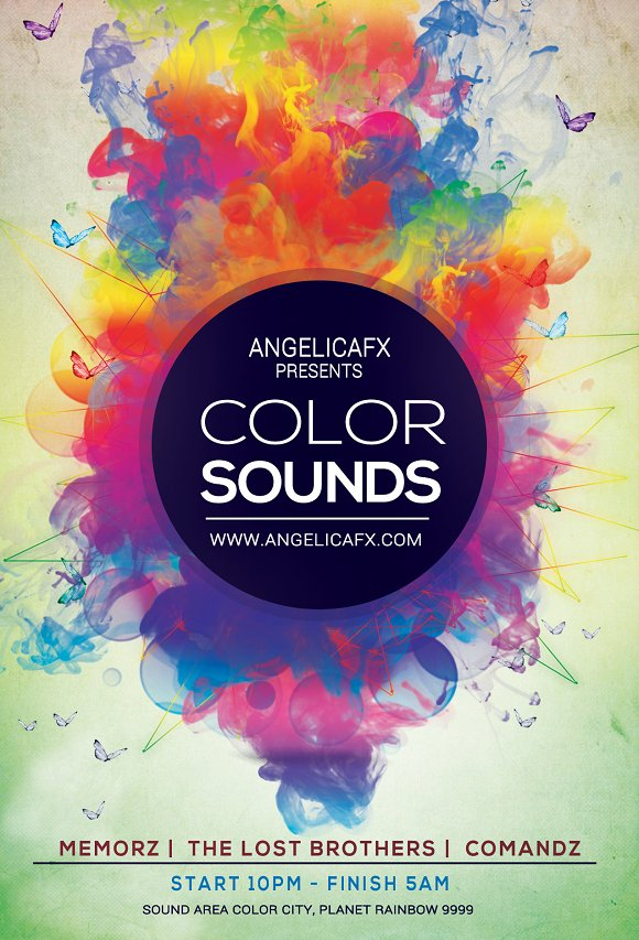 color sounds flyer template templates creative market