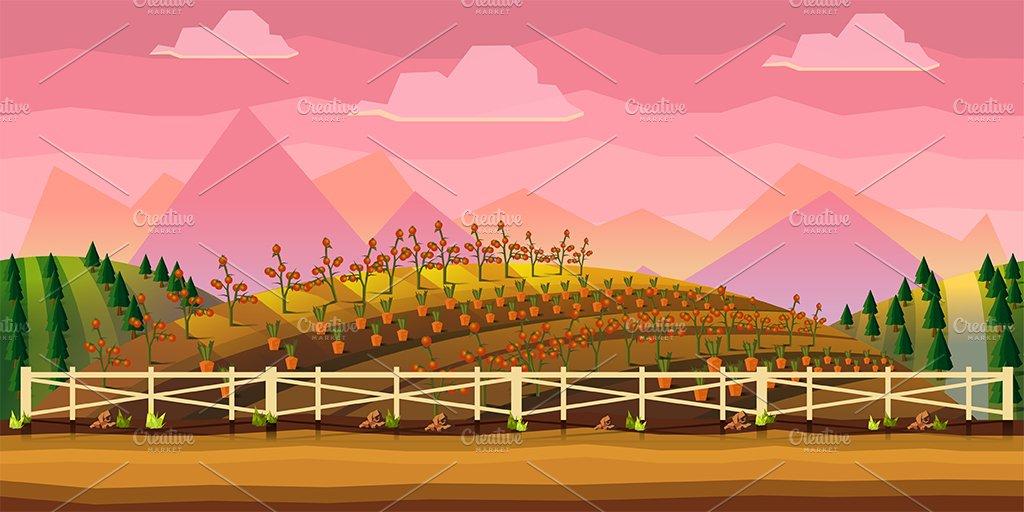 Farm Cartoon Background Illustrations Creative Market
