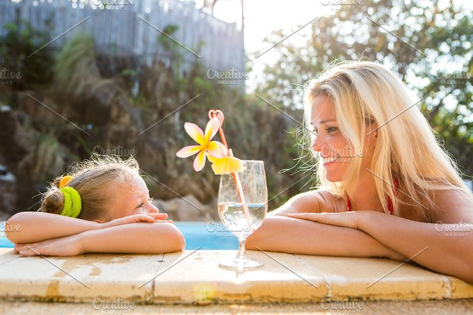 Happy Mothers day. Girl, mom, pool. - Holidays