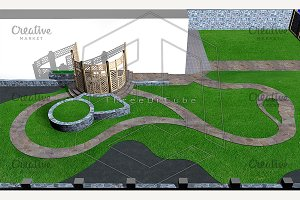 Multi level landscaping, 3d render