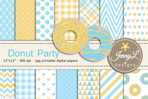 Donut Digital Paper & Clipart Boy